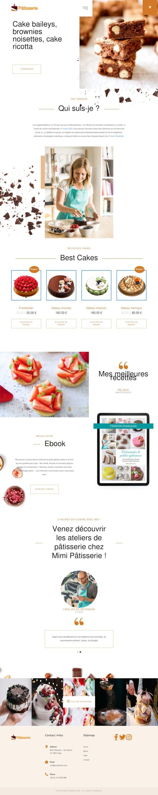Modèle site sur la thématique vente de pâtisserie